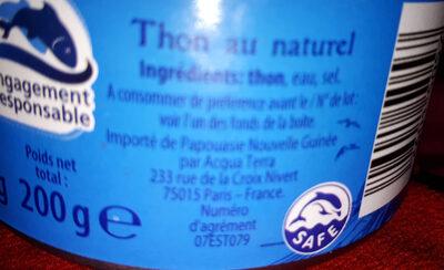 Thon au naturel - Ingredients - fr