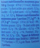 Thon au Naturel - Nutrition facts