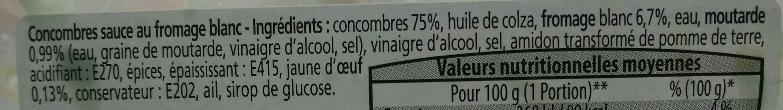 Concombres sauce au fromage blanc - Ingredients