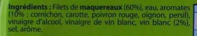 Filets de Maquereaux (Marinés au vin blanc et aux aromates) - Ingredients