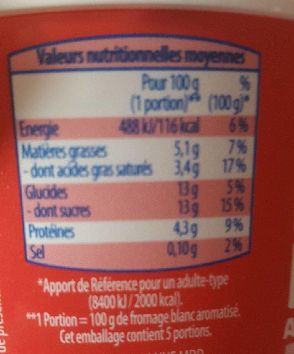 Fromage blanc avec morceaux de fraise - Nutrition facts