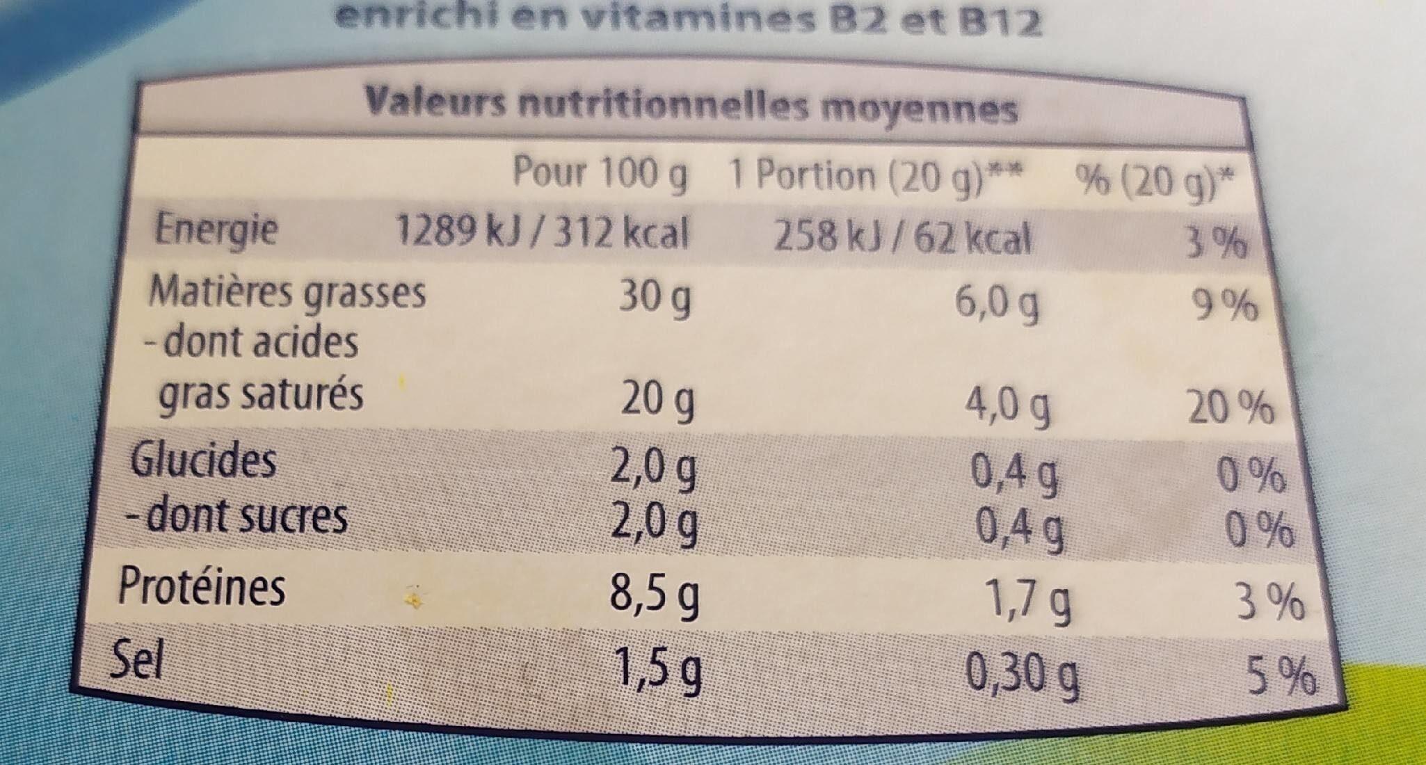 P'tit fondu à la crème (29,5 % MG) 12 Portions - Informations nutritionnelles - fr