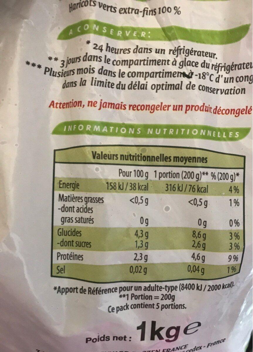 Haricots Verts Extra Fins surgelés - Valori nutrizionali - fr