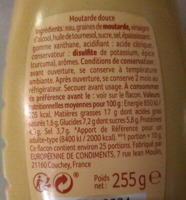 Moutarde douce - Información nutricional - fr