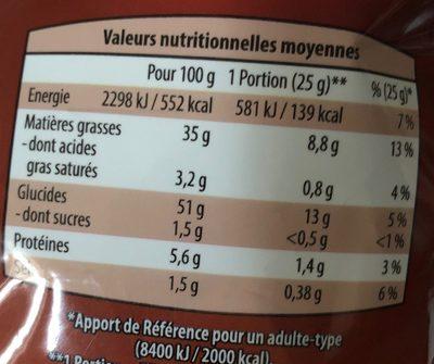 Chips saveur poulet rôti - Nutrition facts