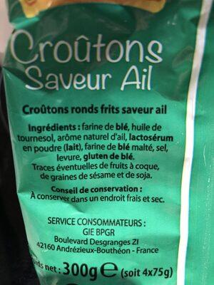 Croutons ail manapain - Ingrédients