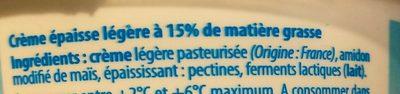 Crème fraîche allégée - Ingrédients