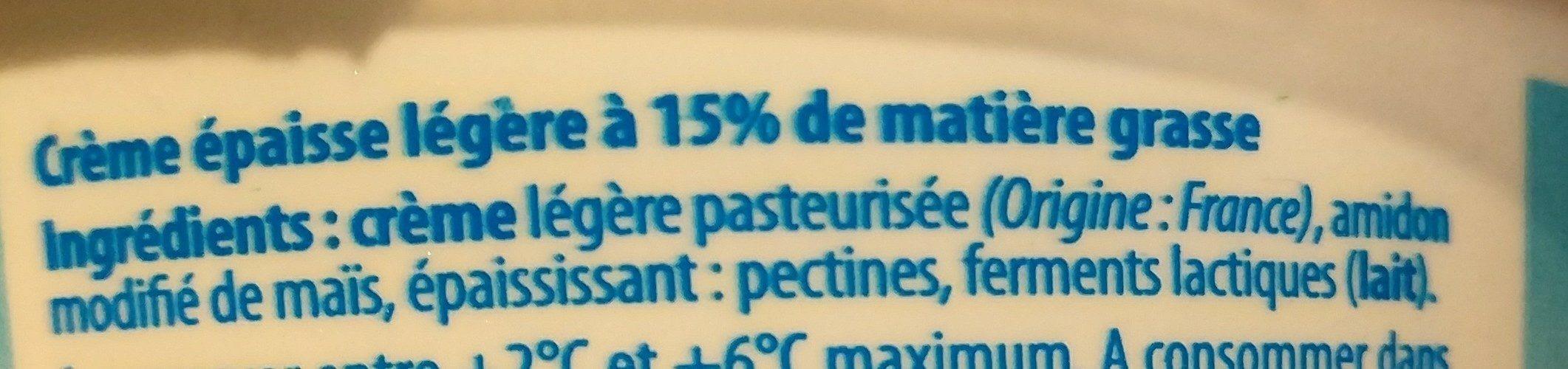 Crème fraîche allégée - Ingrédients - fr