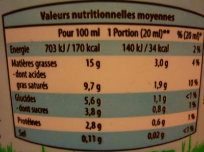 Crème fraîche allégée - Informations nutritionnelles