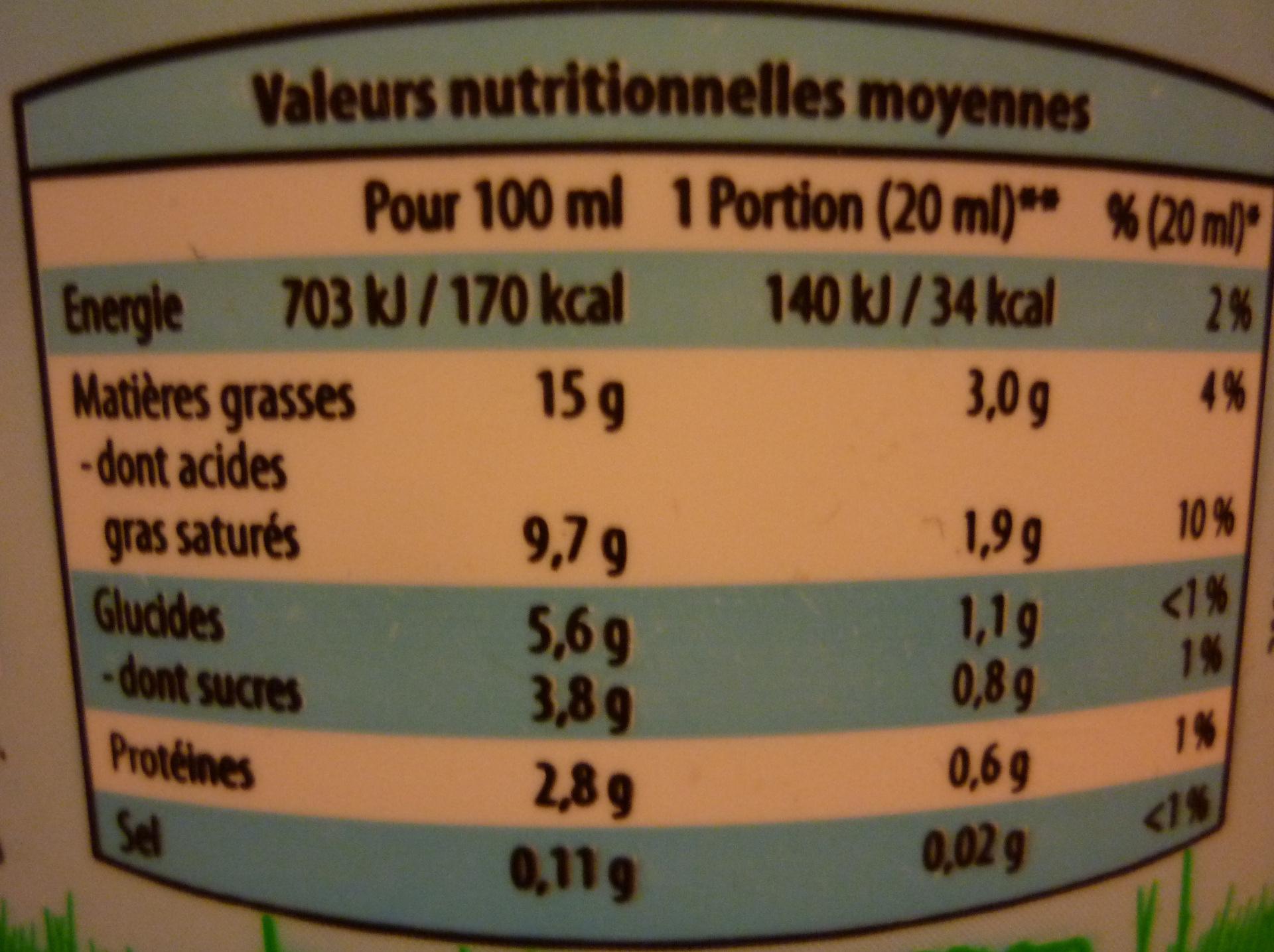 Crème fraîche allégée - Informations nutritionnelles - fr