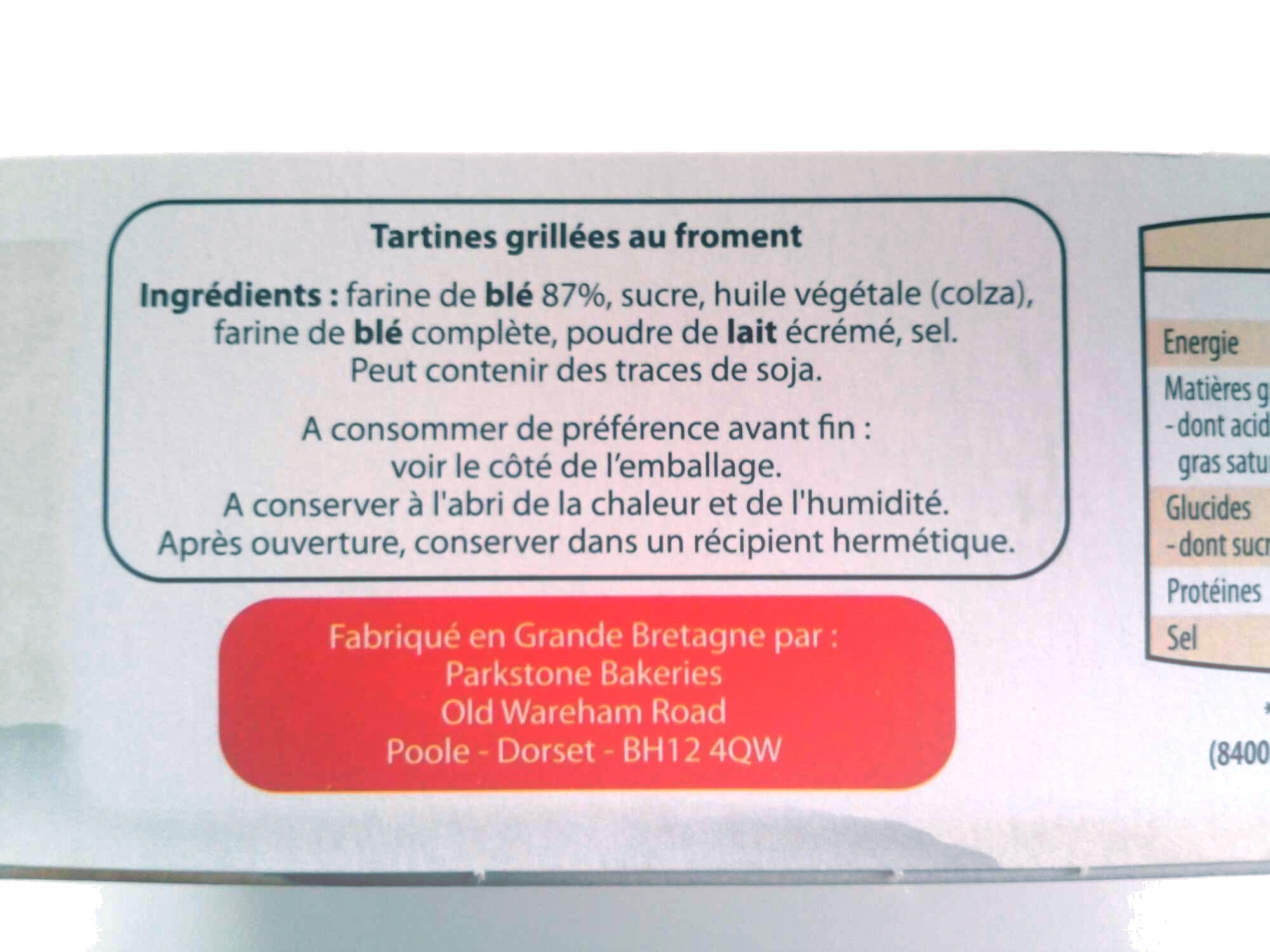 Tartines craquantes Froment - Ingredients - fr