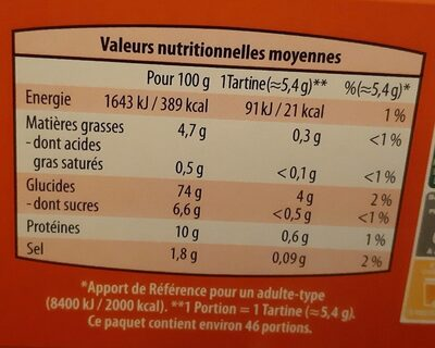 Tartines craquantes Froment - Nutrition facts - fr