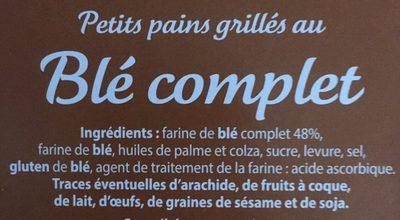 Petits pains grillés au blé complet - Ingrediënten - fr