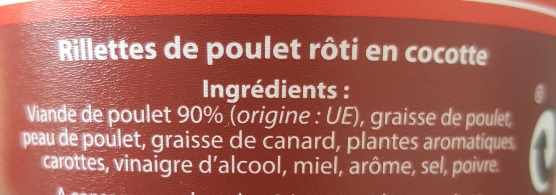 Rillettes de Poulet Rôti en cocotte - Ingrédients