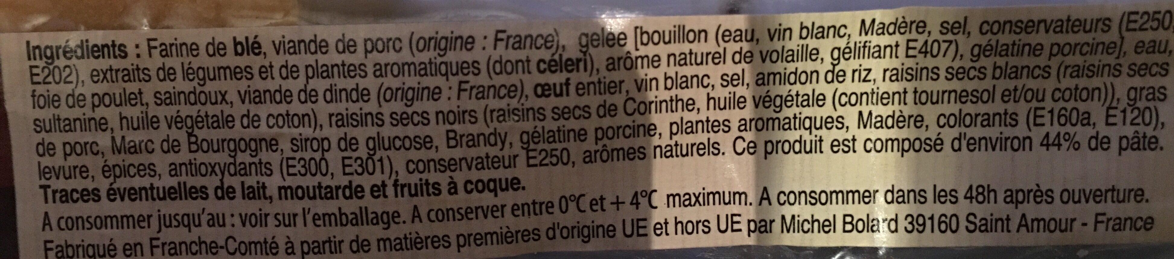 Pays Gourmant Pâté en croûte cocktail Franche Comté - Ingrédients