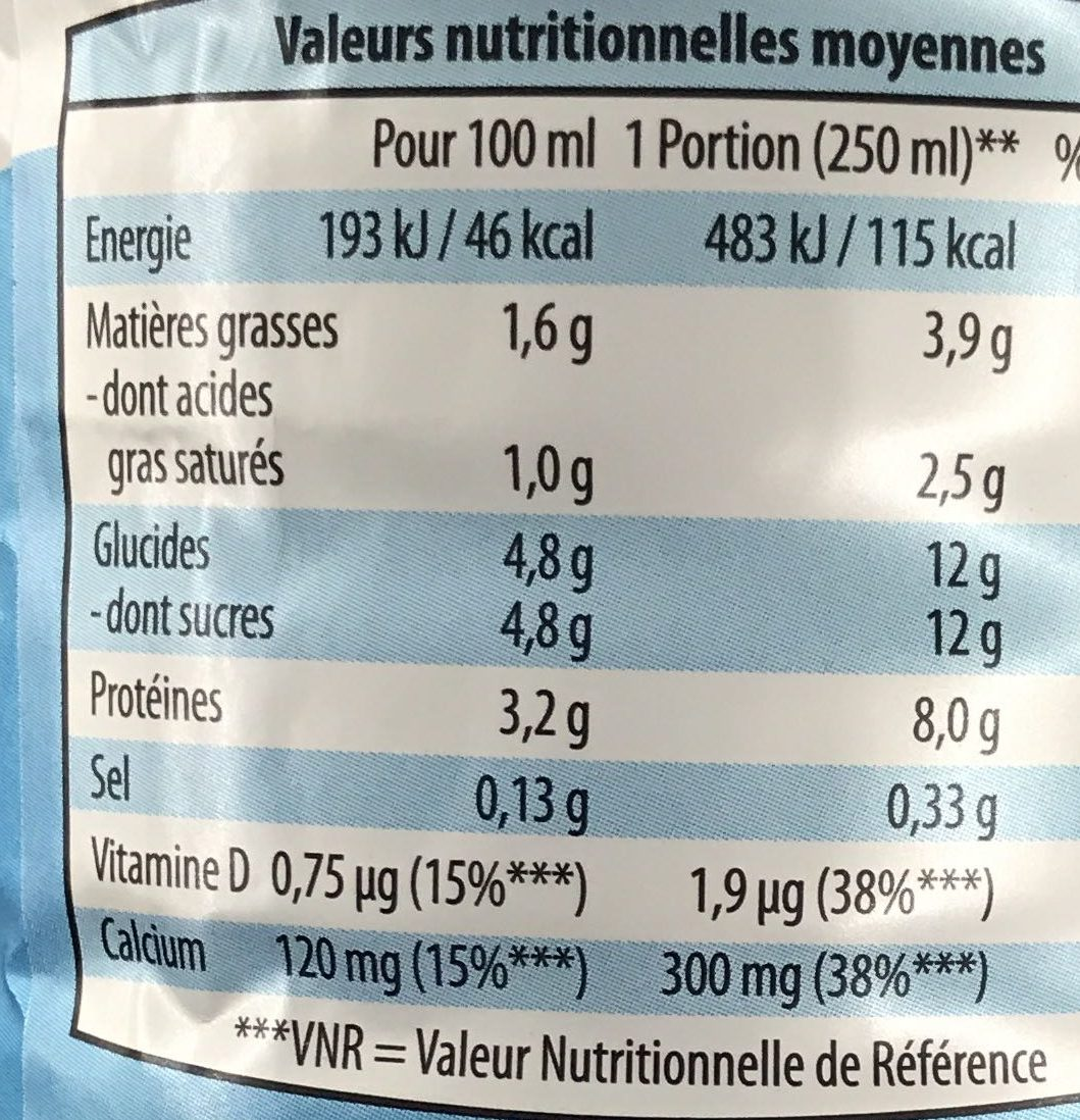 Lait facile à digérer demi-écrémé stérilisé UHT - Nutrition facts