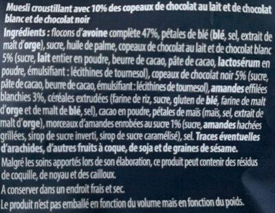 Croustillant Muesli Triple Choco - Ingrédients - fr
