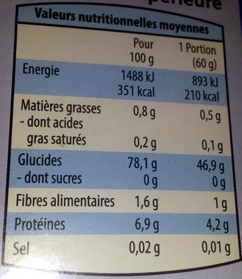 Riz Long Grain Incollable - Nutrition facts