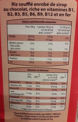 Riz Soufflé au Chocolat - Nutrition facts
