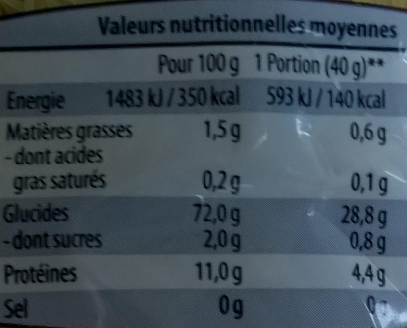 Vermicelles - Pâtes alimentaires de qualité supérieure - Informations nutritionnelles - fr