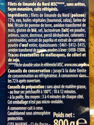 Filet de limande du nord facon meuniere - Ingrédients