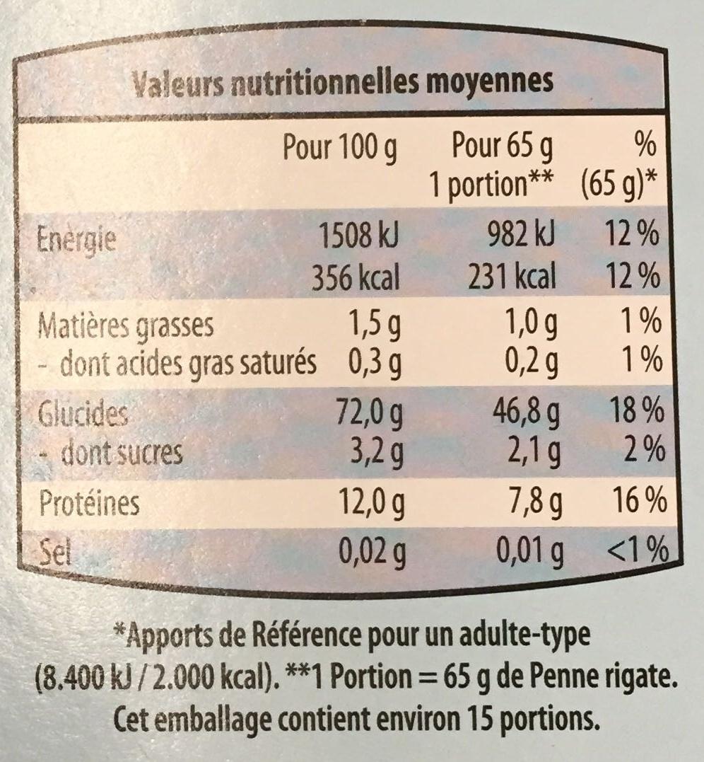 Penne Rigate (Pâtes alimentaires de qualité supérieure) - Informations nutritionnelles