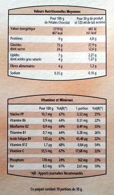 Pétales de riz et de blé complet aux copeaux de chocolat noir - Informations nutritionnelles - fr