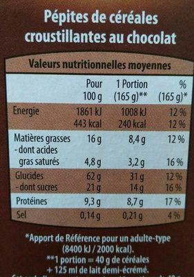 Pépites Croustillantes au chocolat - Nutrition facts