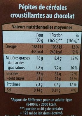 Pépites Croustillantes au chocolat - Voedigswaarden