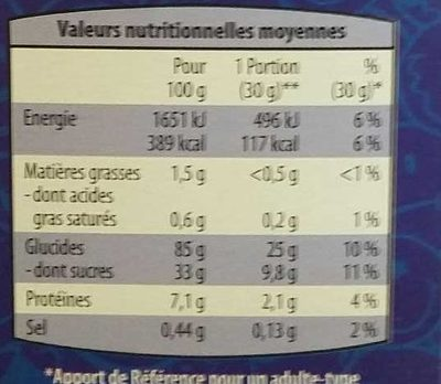 Smiley Cereal Chocolat - Informations nutritionnelles
