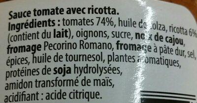 Sauce pour pâtes alimentaires Tomate Ricotta - Ingrédients