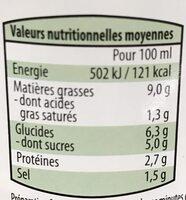 Champignon sauce aux champignon - Nutrition facts