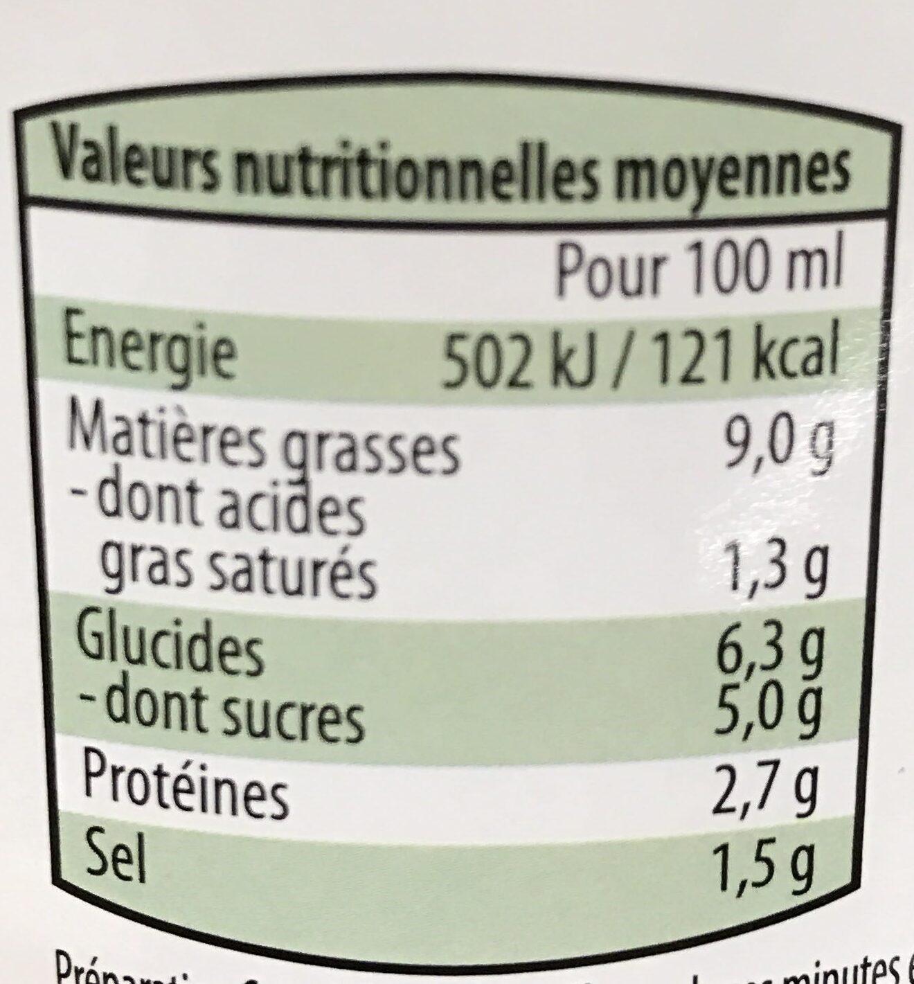 Sauce pour pâtes alimentaires Tomate Ricotta - Informations nutritionnelles