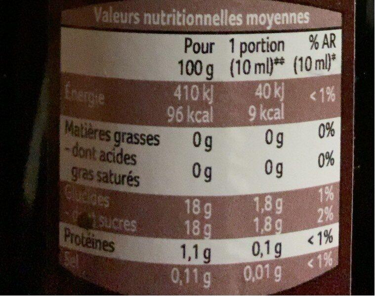 Vinaigre basalmique de modene - Informations nutritionnelles - fr