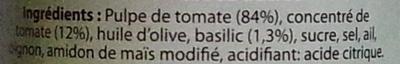 Sauce tomate au basilic - Ingrediënten - fr