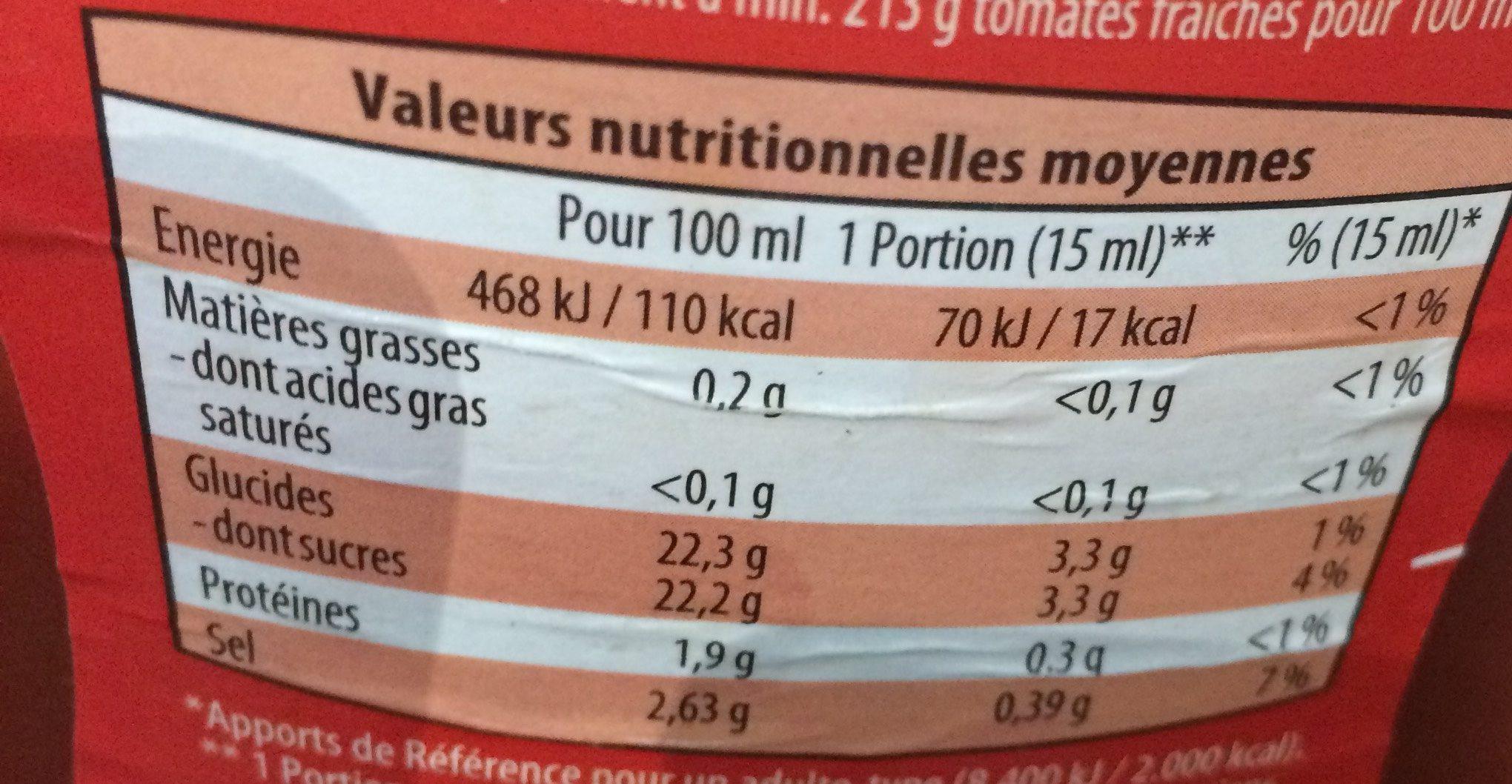 Ketchup à la tomate - Nutrition facts - fr