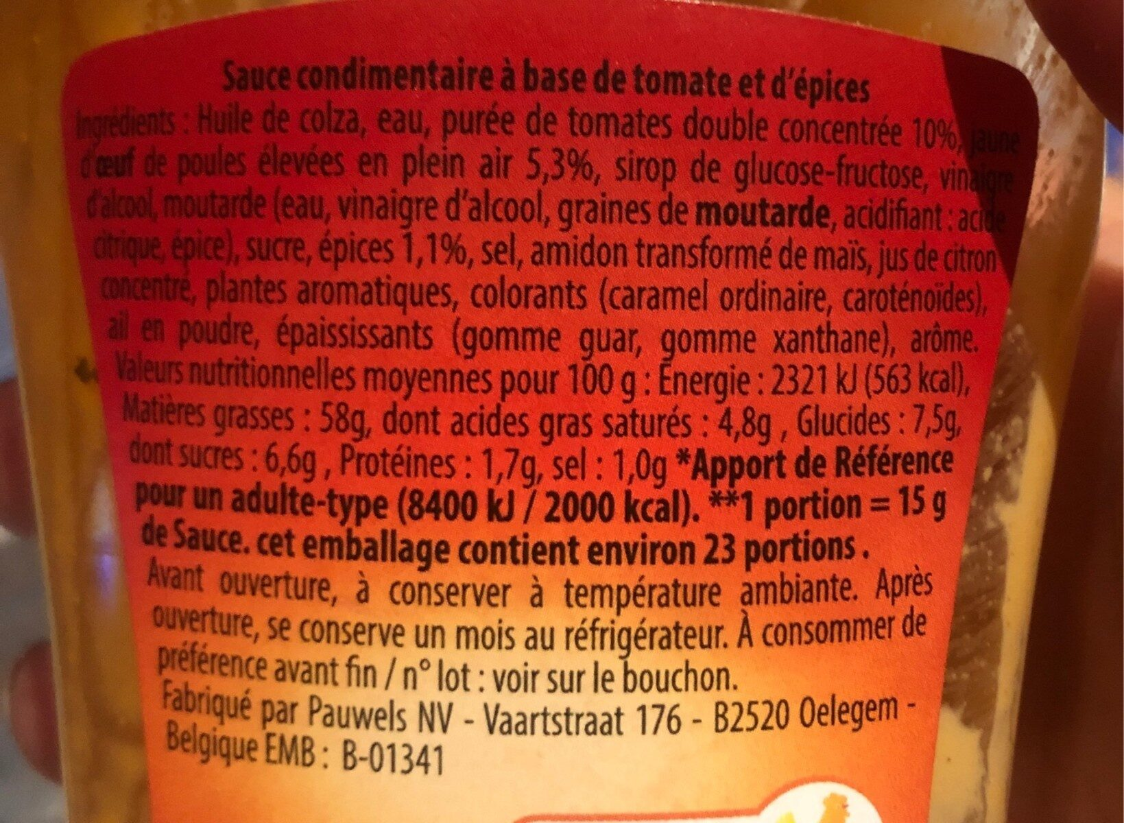 Sauce andalouse - Nutrition facts