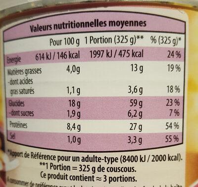 Couscous Légumes & Viandes - Informations nutritionnelles - fr