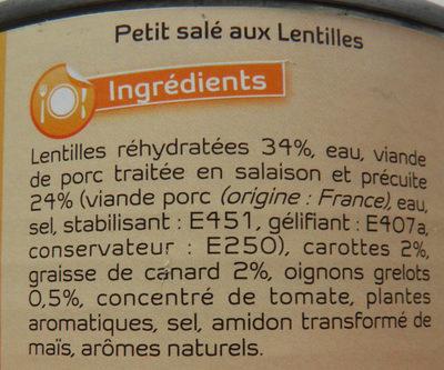Petit Salé aux Lentilles - Ingrédients
