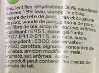 Saucisse aux lentilles - Ingrédients - fr