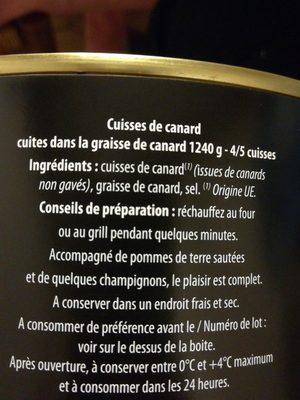 Cuisses de canard - Ingrédients