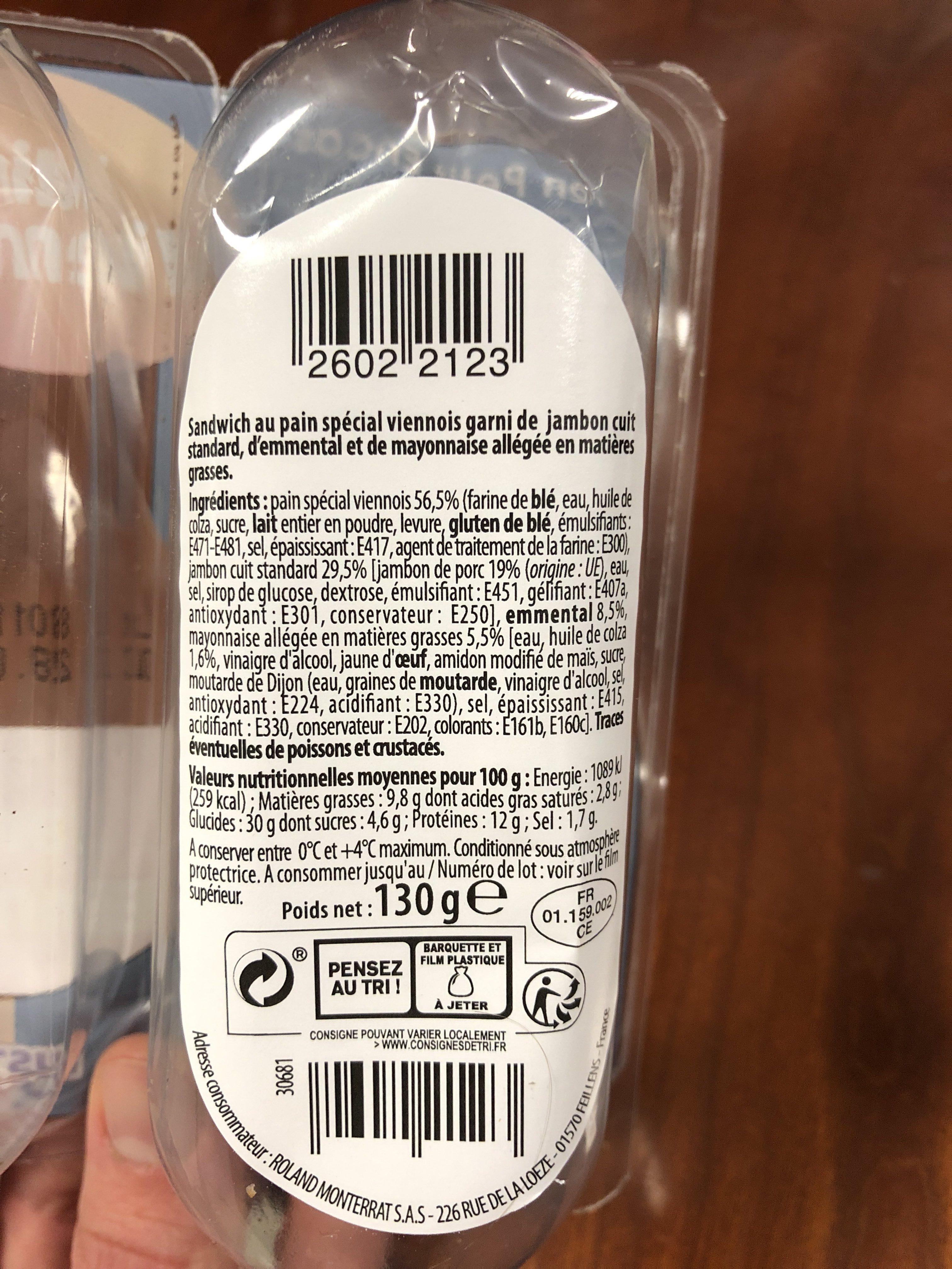 Mini viennois jambon emmental - Ingredients - fr