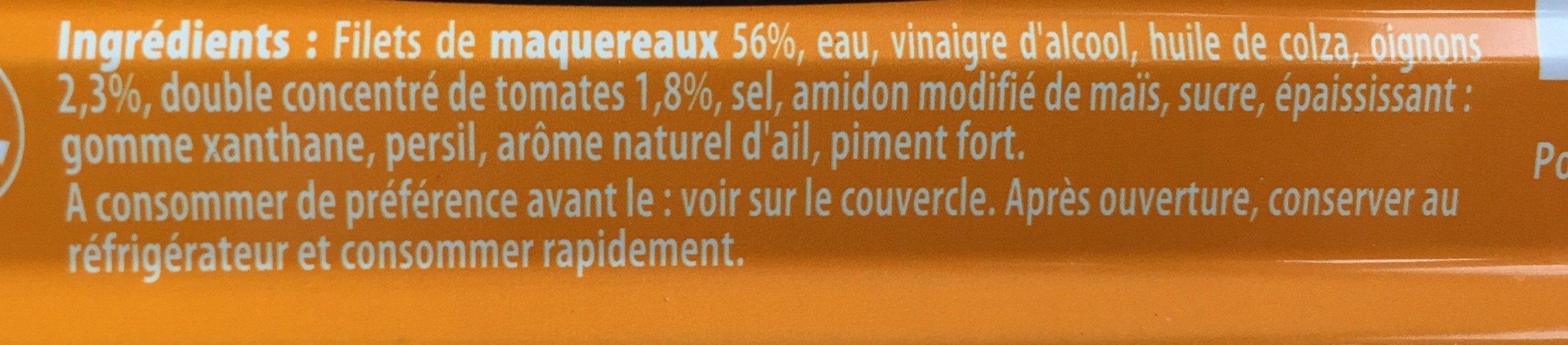 Filets de maquereaux sauce Escabèche - Ingredients