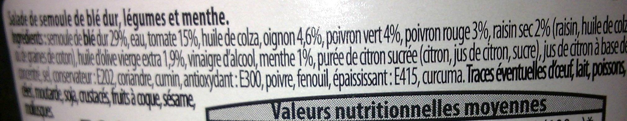 Taboulé à l'orientale - Ingrédients