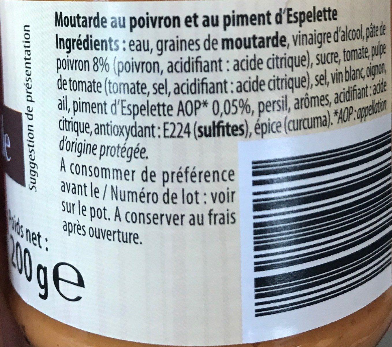 Moutarde au poivron et piment d'espelette - Ingredients - fr