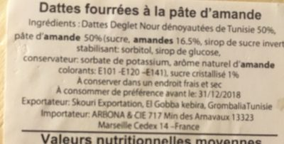 Datte fourrees a la pate d amande - Ingredients