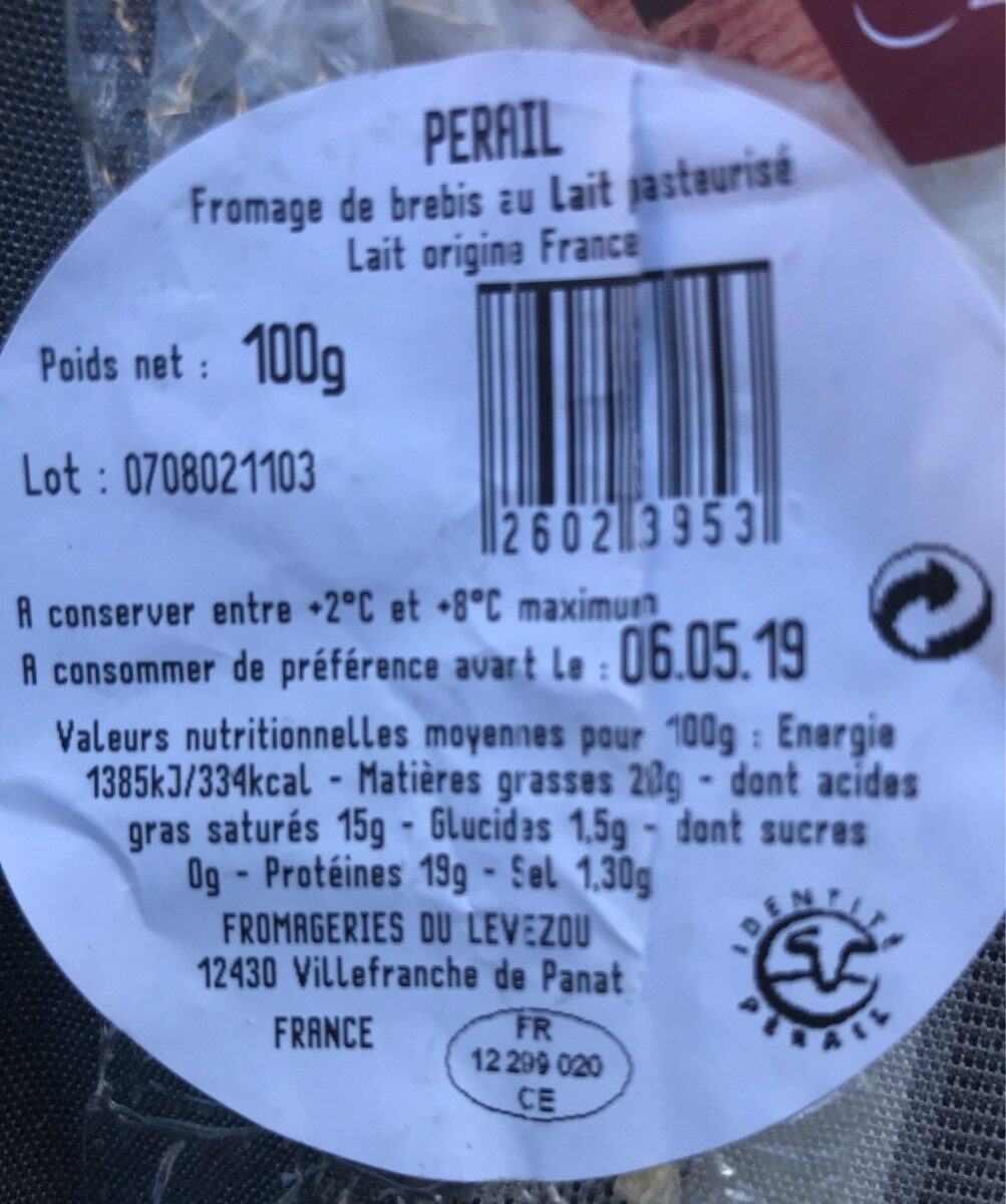 Pérail - Ingrédients - fr