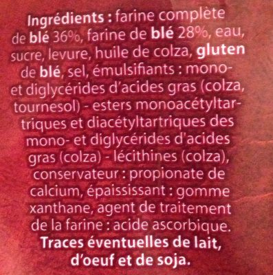 Pain de mie farine complète sans croute - Ingredienti - fr
