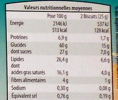 Sablés aux céréales - Informations nutritionnelles - fr