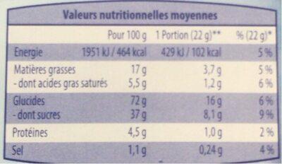 Biscuits cacaotés fourrés saveur vanille - Informations nutritionnelles - fr